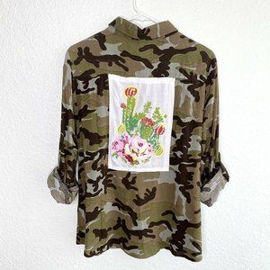 Andree by Unit Camo Embroidered Floral Cactus Top
